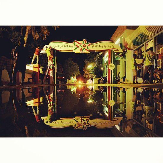 50 Years of Independence Minivan50 Instamood Winks Imageoftheday reflection fenaka thinadhoo night lowlight red green landscape lights Ilovemaldives