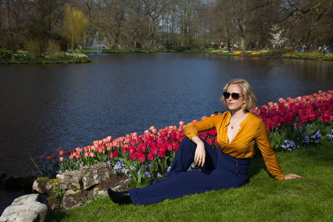 Beautiful Blond Hair Flower Lake Nature One Person One Woman Only Outdoors Picnic Pond Portrait Relaxing Sunglasses Vintage Style Water Young Adult