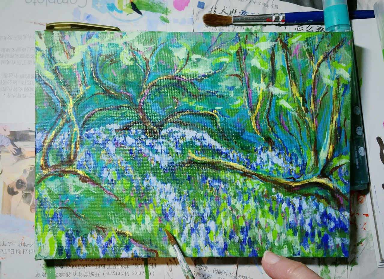 ... Working on it ... Multi Colored Indoors  Nature Close-up No People Painting Art Bluebell Wood Spring Flowers Brush Paintbrush Canvas Miniature Studio Artist At Work Myartwork MyArt Landscape Arte рисунок Work Acrylic Painting Business