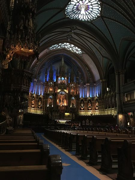 Architecture Builiding Church Lights Montréal No People Notre-Dame Place Of Worship Religion Spirituality