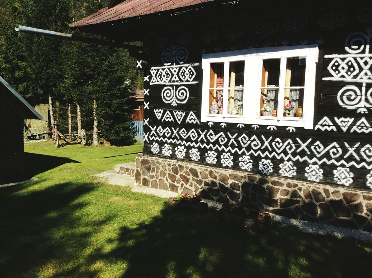 Sunlight Text Outdoors Grass No People Tree Day Nature Folklore Slovakia Building Exterior Architecture Built Structure Text Beauty In Nature