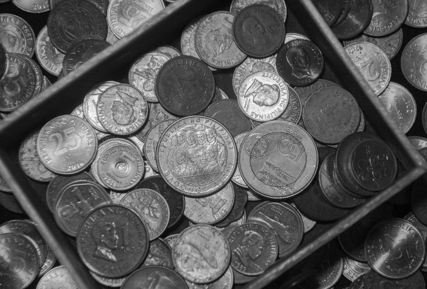 Philippines Backgrounds Close-up Coin Coin Collection Currency Day Finance Financial High Angle View Indoors  Large Group Of Objects Metal Money No People Savings Wealth