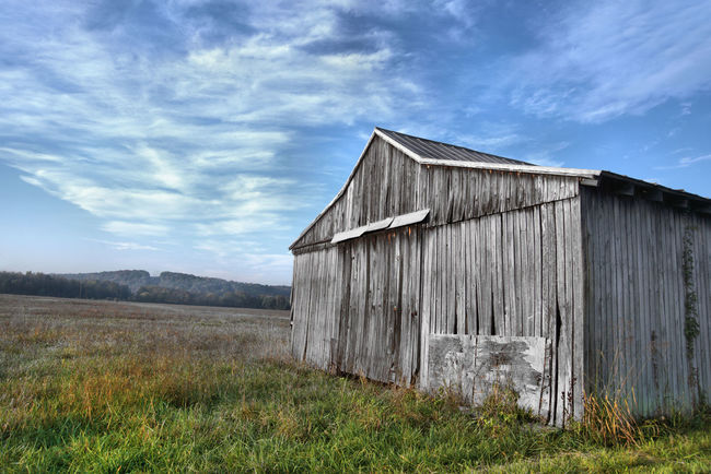 Captured on 10-16-16 Abandoned Architecture Barn Blue Building Exterior Built Structure Cloud - Sky Damaged Day Deterioration Discarded Exterior Field Grass Grassy House No People Obsolete Old Outdoors Rural Scene Sky Weathered Wood - Material Worn Out