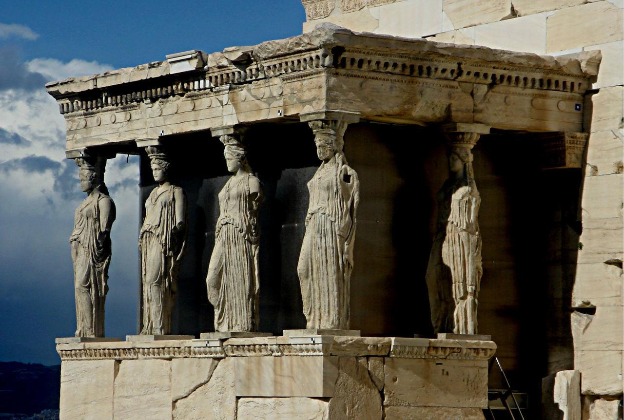 Acropolis Ancient Architectural Column Architecture Contrast Greece Hellas History Marble Monument Outdoors Sculpture Sculptures Sky Tourism Travel Travel Destinations Woman Woman Figure