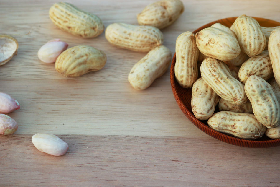 Appetizer Background Bowl Butter Closeup Dry Food Group Natural Nut Nutrient Organic Peanuts Peeled Protein Roasted Seed Shell Snack Wood Wooden