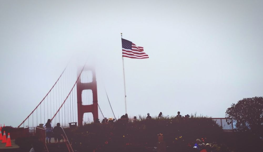 Golden Gate Bridge and the beautiful American flag flying proudly. Love this city and this country! Taking Photos Hello World Lovetotravel San Francisco Golden Gate Bridge American Flag