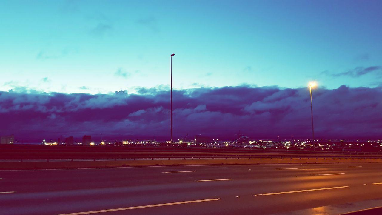 night, illuminated, road, no people, street light, speed, sky, transportation, cloud - sky, outdoors, beauty in nature, nature