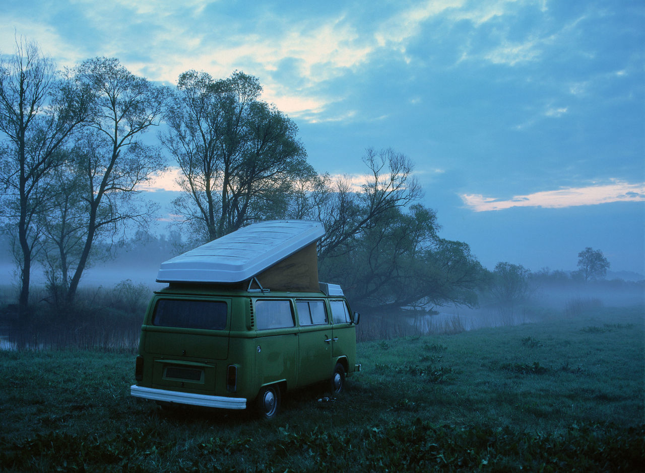 Adventure Camper Campervan Camping Car Cloud - Sky Dawn Field Grass Land Vehicle Mode Of Transport Outdoors Sky Sleeping In Th Car Volkswagen Volkswagen Bus Volkswagen T2 Volkswagen Westfalia