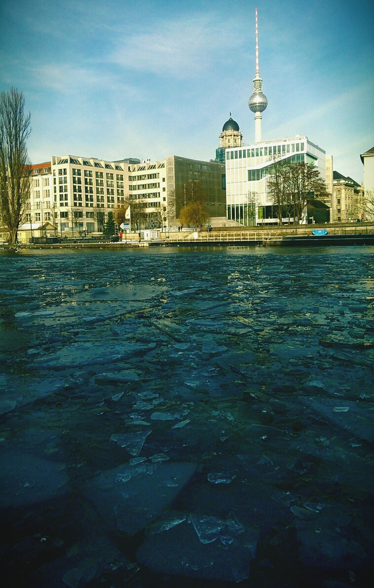 frozen sunny river Ice Cold Winter