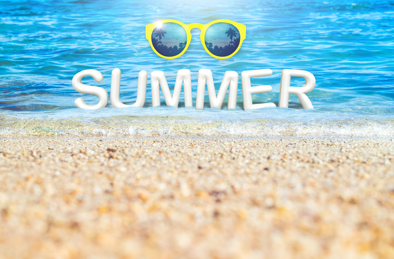 Summer word(3d rendering) with yellow sunglasses floating in sea on sand beach with sunlight ,Leave space under word for adding your text or design,Banner for advertise on social media 3d Rendering Advertising Banner Beach Blue Blurry Copy Space Day Low Angle View Outdoors Palm Tree Rippled Water Sand Sand & Sea Sea Summer Sun Sunglasses Sunshine Travel Destinations Vacation Water Water Reflections White Yellow