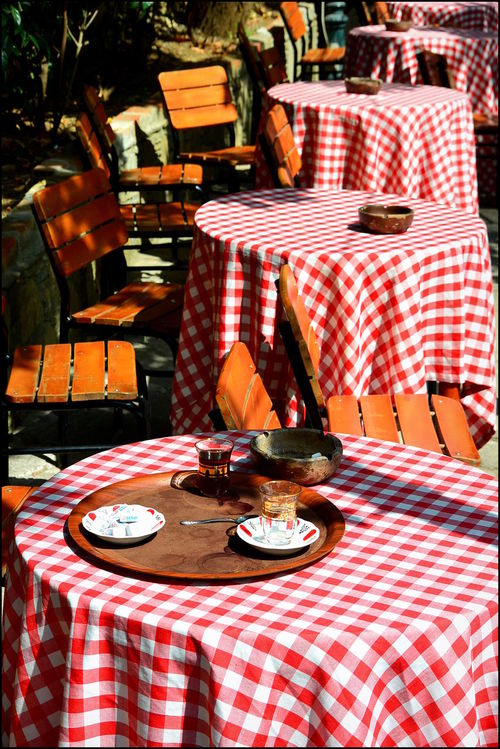 Pierre Loti Cafe Empty Cafe Empty Tables Red Check Red Check Table Cloth Tablecloth Turkish Cafe Turkish Style  Turkish Teacup Turkish Tradition Pierreloti Pierre Loti Istanbullovers Istanbulphotography