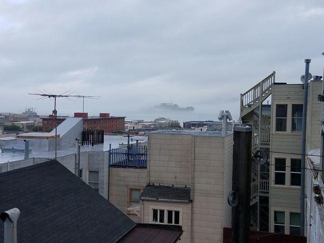 Foggy morning City Bay Alcatraz Residential District Cloudy Foggy Morning Cloud - Sky Cityscape No People San Francisco Bay
