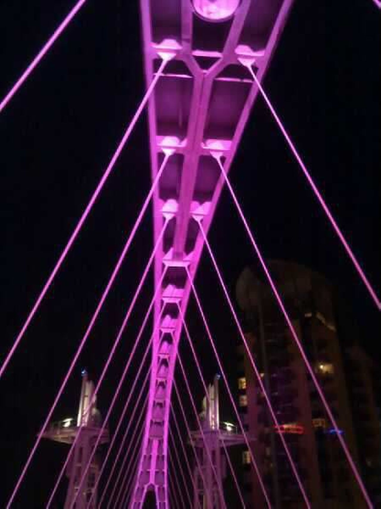 Bridge - Man Made Structure Built Structure Bridge Bridges Bridge View Night Purple City Low Angle View Architecture Pink Color Illuminated No People Outdoors Walk Sights Backgrounds