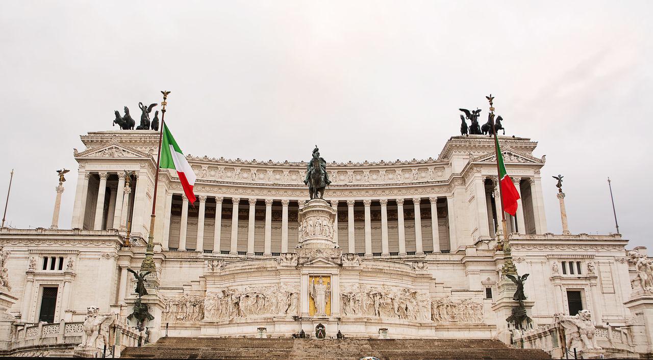 Vittoriano or altar of the fatherland in Venice Square in Rome Altar Architecture Capital Capitoline City Column Emanuel Emanuele Europe Flag Government Horse Italian Italy Landmark Marble Memorial Monument Palace Republic Roma Roman Rome Square Statue