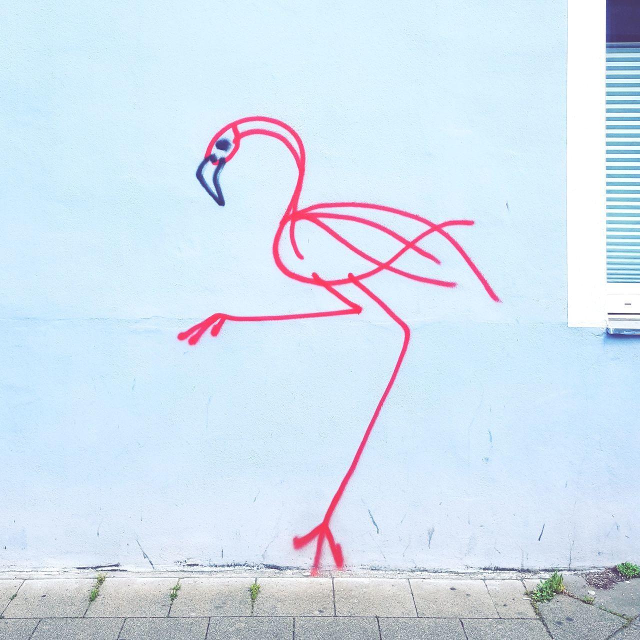Flamingolove. Creativity Day No People Outdoors Streetart Streetphotography Flamingo Simplicity Pink Wall Building Exterior The Street Photographer - 2017 EyeEm Awards