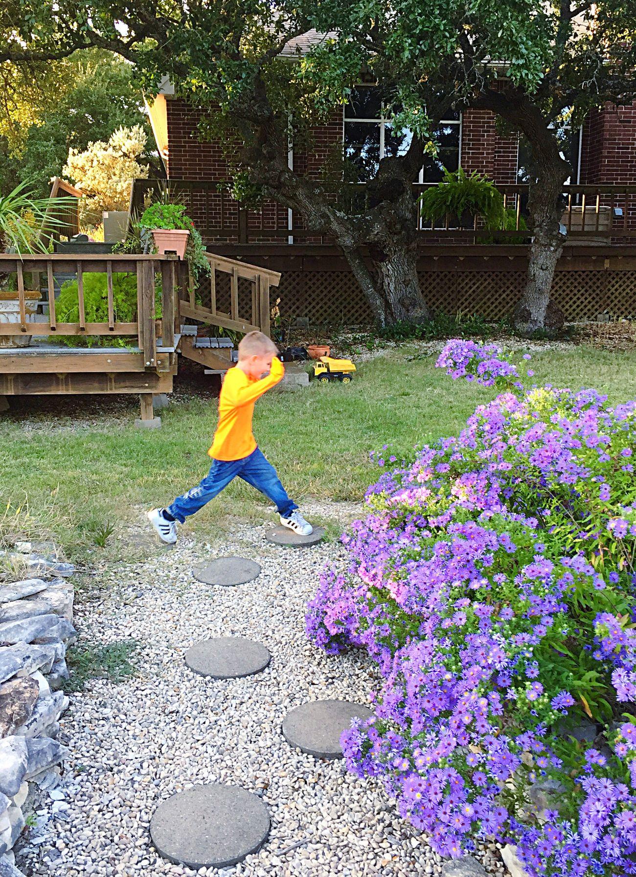 My boy avoiding poisonous lava in the Enchanted Garden:)