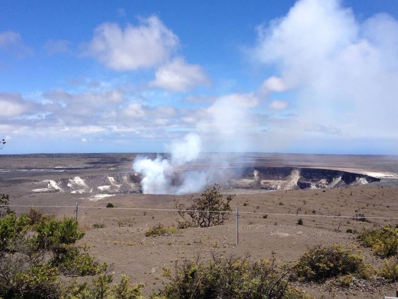 Halemaumau crater with smoke from flowing lava. Volcano Smoke Outdoor Photography Outdoors Photograpghy  Travel Destinations Traveling Taking Photos Eyem Awsome Solitude Inspired Wilderness Trail Hiking Hikingadventures Camping Volcano National Park