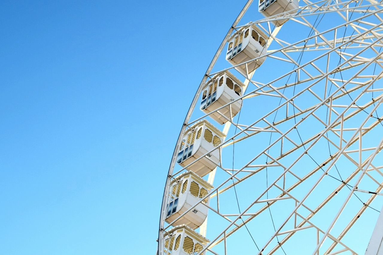Low Angle View Clear Sky Blue Ferris Wheel No People Amusement Park Ride Outdoors Sky Day Big Wheel NIKON D5300 Nikon Nikonphotography Bright Colors Travel Destinations