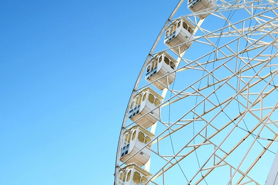 Low Angle View Clear Sky Blue Ferris Wheel No People Amusement Park Ride Outdoors Sky Day Big Wheel NIKON D5300 Nikon Nikonphotography Bright Colors Travel Destinations