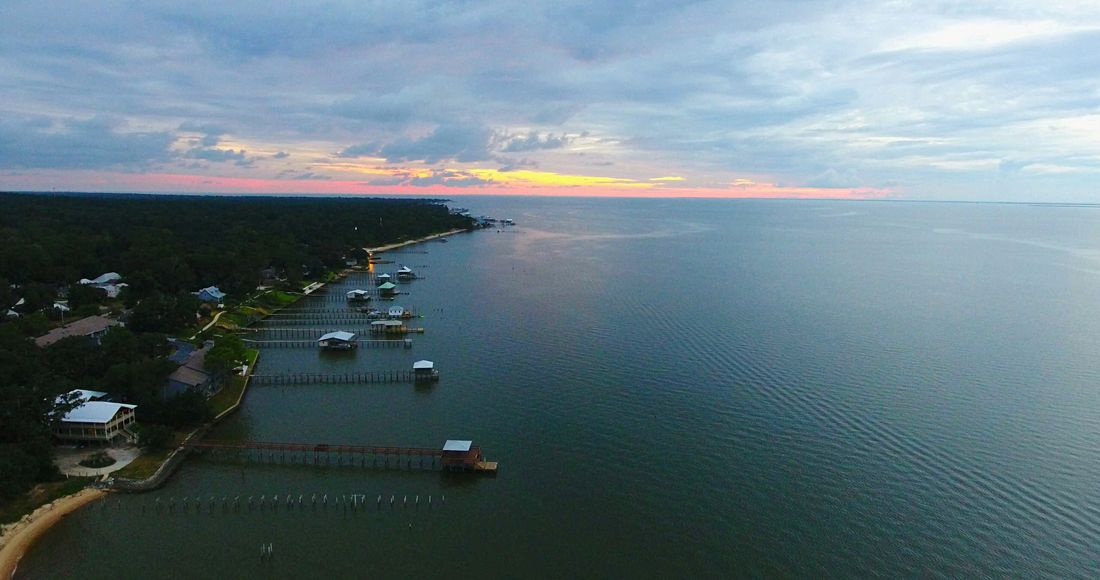 Water Cloud - Sky Aerial View Horizon Over Water Sunset Mobile Bay