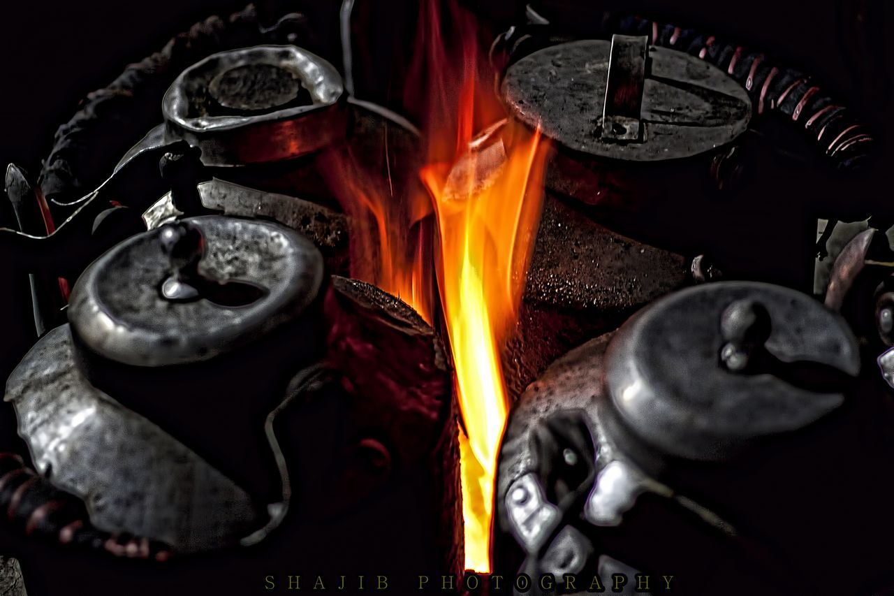 metal, flame, heat - temperature, no people, indoors, close-up, day