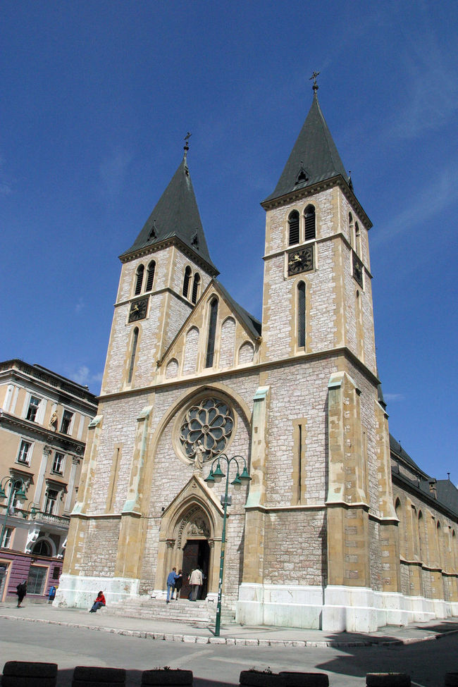 Sarajevo cathedral, Bosnia and Herzegovina Architecture Bosnia And Herzegovina Building Building Exterior Built Structure Cathedral Catholic Christianity Church Clock Clock Construction Culture Europe European  Faith Place Of Worship Religion Rose Window Sarajevo Spirituality Tower Wall