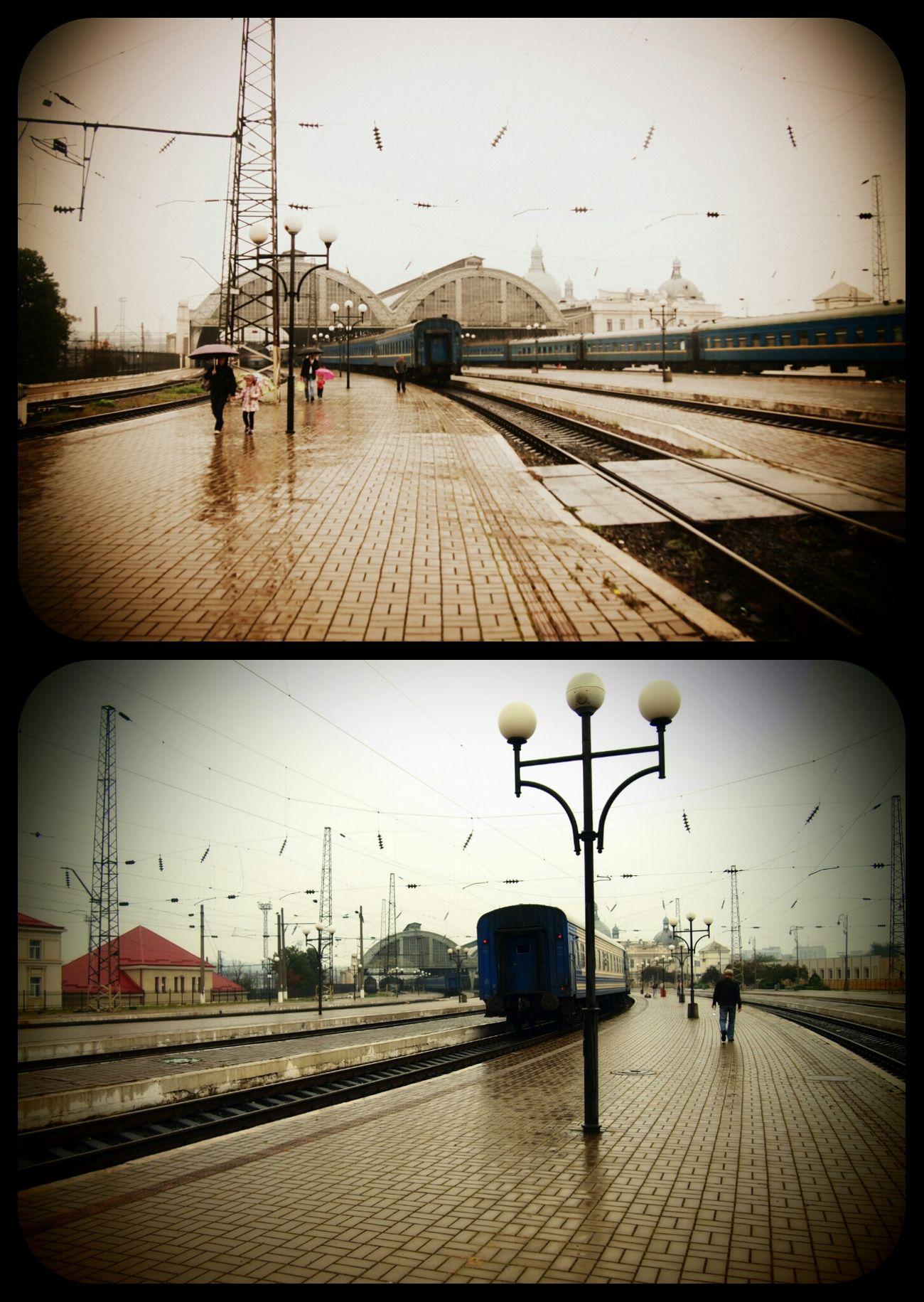 Railway Station Train Rain Lviv