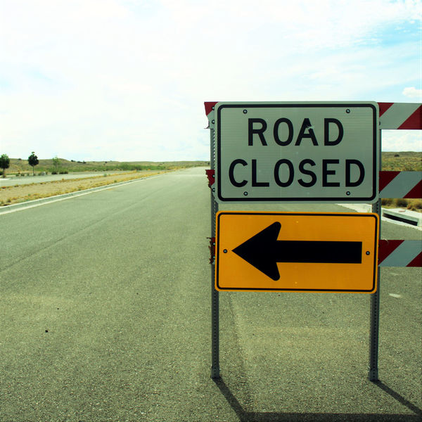 """Broken """"Road Closed"""" barrier. Bright Broken Busted Diminishing Perspective Directional Sign Guidance Ineffective Road Road Closed Road Marking Road Sign Sign Signage Signs Text Vandalism Vanishing Point Whiteout Finding New Frontiers"""