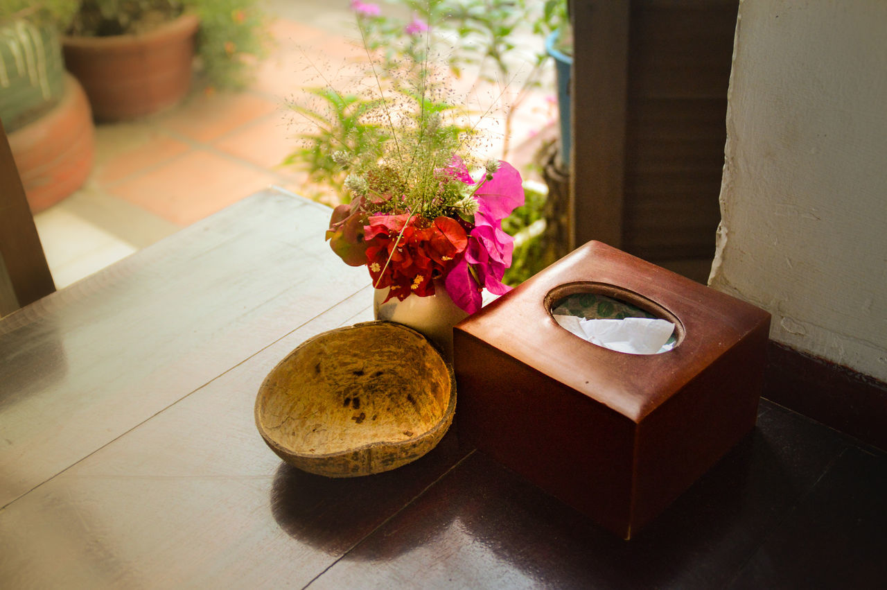 table, flower, indoors, no people, close-up, freshness, fragility, nature, day, food, beauty in nature, flower head