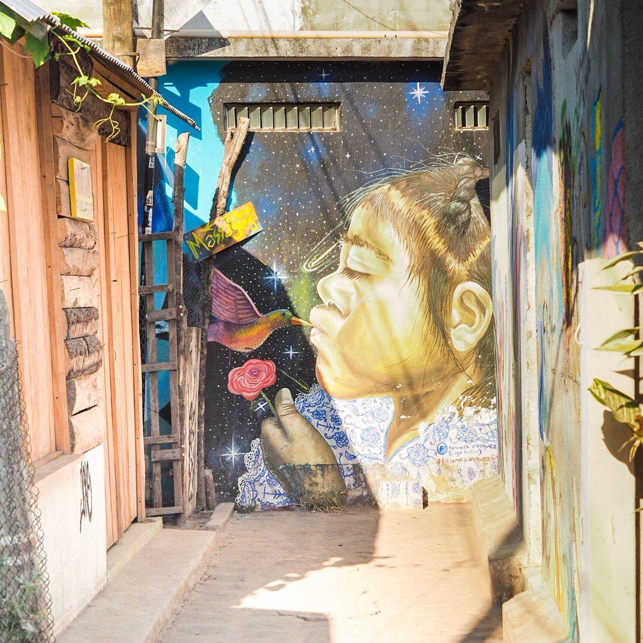 Beautiful Graffiti in San Pedro, Guatemala. Hummingbird Kissing Girl. Building Exterior Hanging Architecture Built Structure Outdoors Day No People Animal Themes Mammal Graffiti Graffiti Art Light And Shadow Colorful Colors Hummingbird Kiss