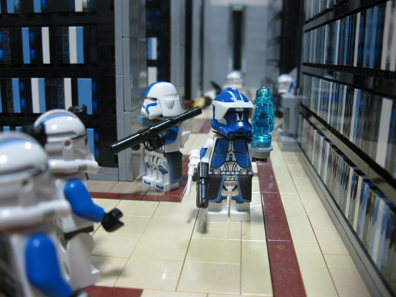 """Yes, my lord?"" 501st Blue Clone Commander Clone Trooper CloneArmyCustoms Jedi Temple Library LEGO Order 66 Palpatine Star Wars"