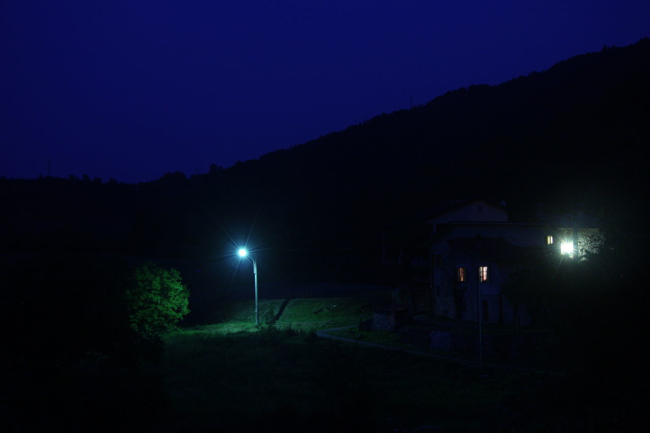 Blue Sky Dark Green Mountain Nature Night Nightlight Non-urban Scene Outdoors Scenics Solitude