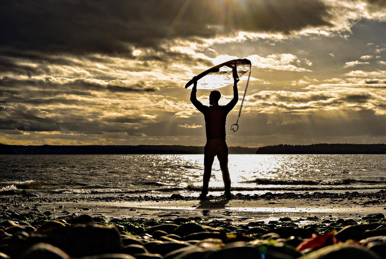 Sunrise Surfer Sunset Waves Travel Retirement Investing
