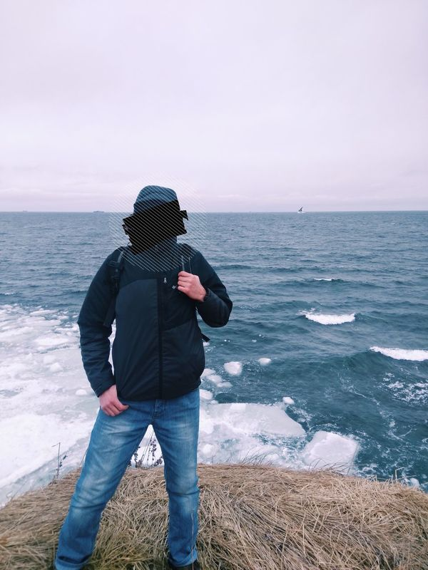 Sea Horizon Over Water One Person Standing Casual Clothing Outdoors Ice Seagull Cold Weather Traveling No Faces Far East Let's Go. Together.