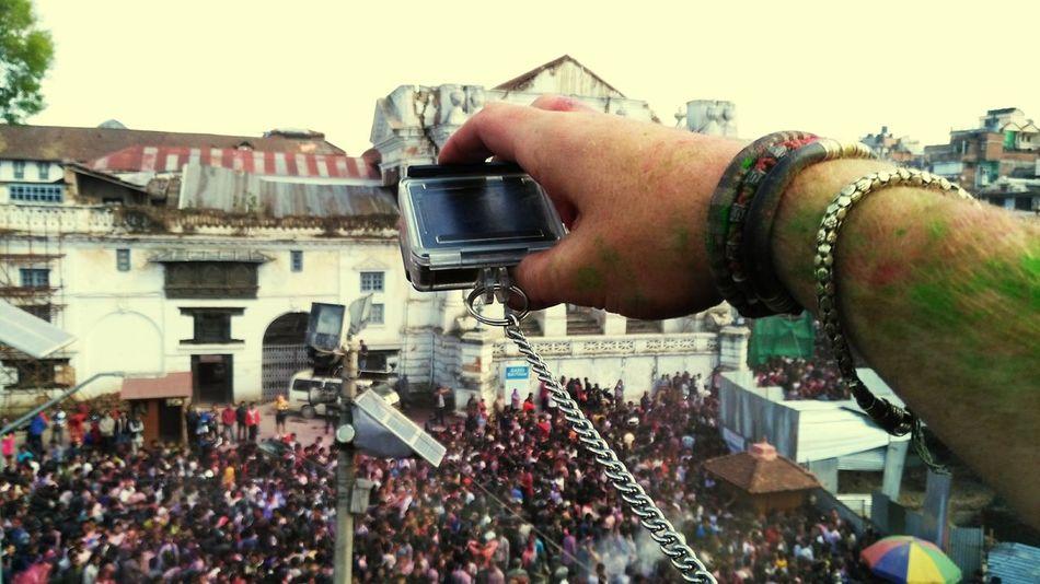Flying High Human Hand Crowd Day Cheerful People Communication Holi Basantapur Durbar Square Flying High