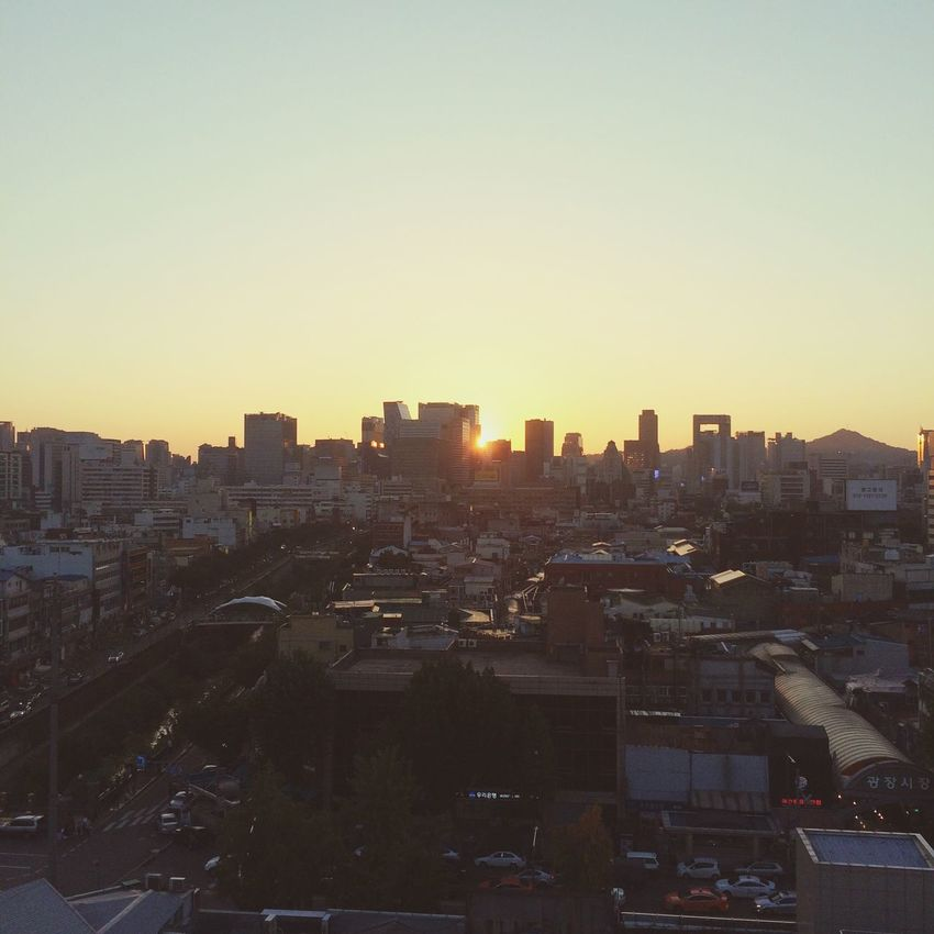 Sunrise Sunset City Skyline Beautiful Korea