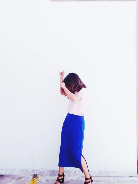 Dancing Dance Day Girl Ombre Hair Long Skirt Blue Sunnyday Short Hair