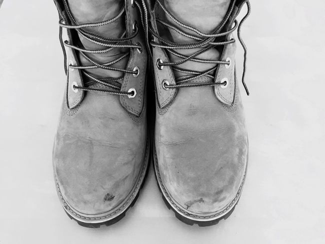 Monochrome Photography Low Section Person Front View Fashionable Shoes Boots Close-up These Boots Are Made For Walking