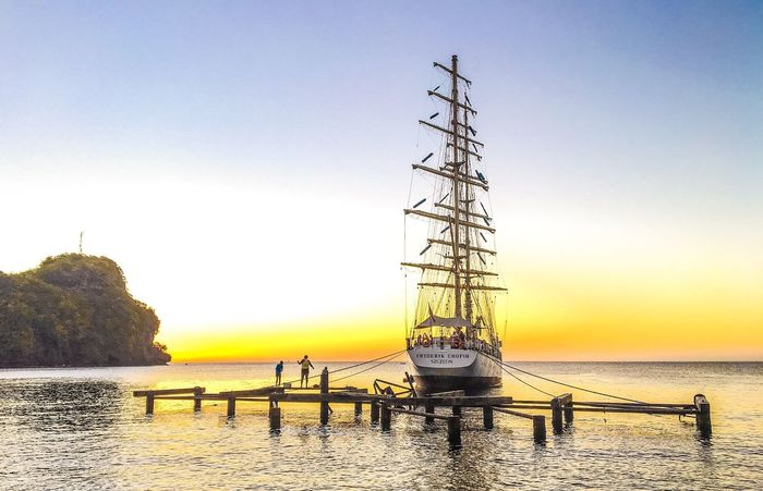 Sky Sea Clear Sky Beauty In Nature Water Outdoors Nature Sailing Ocean Caribbean Miles Away Beach Time Chopin Sailing Ship Vacations Travel Traveling