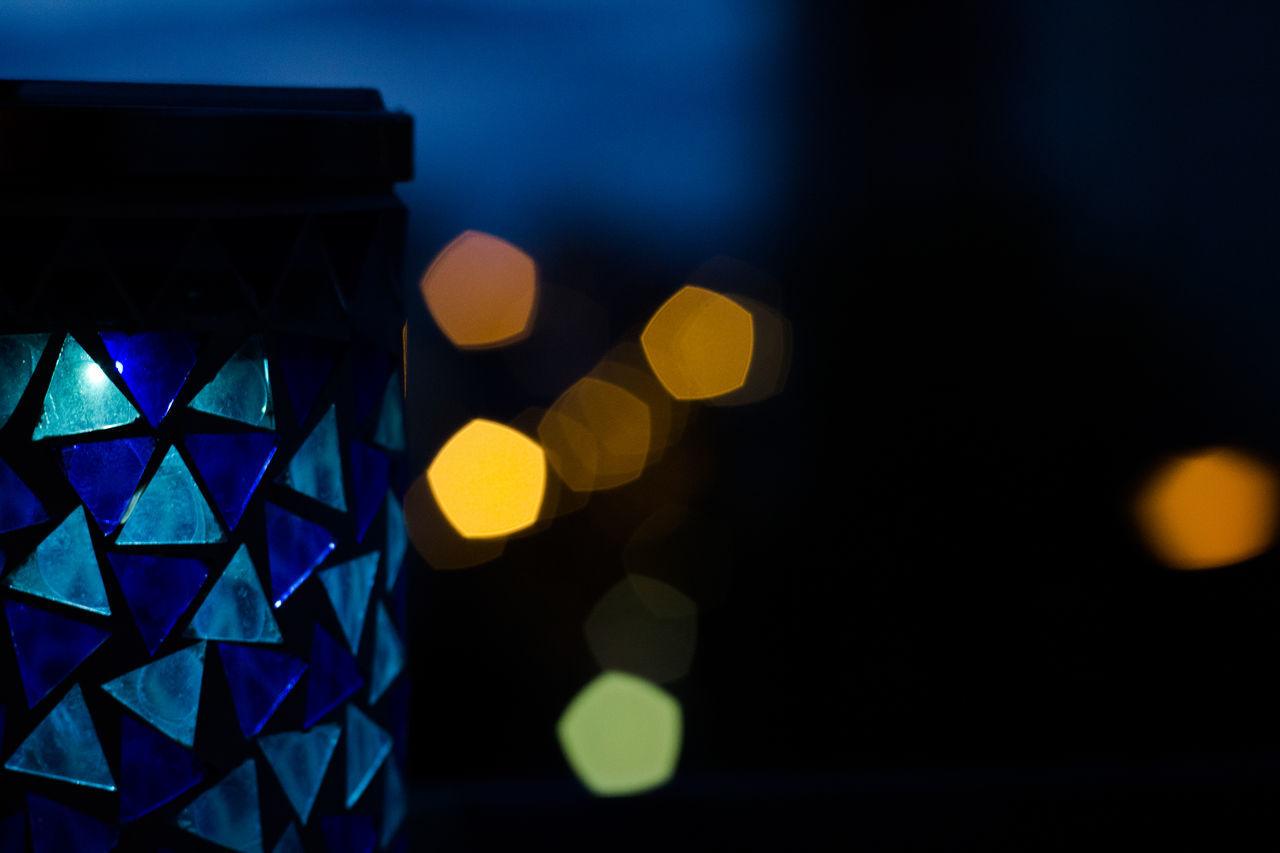 illuminated, night, no people, close-up, multi colored, indoors