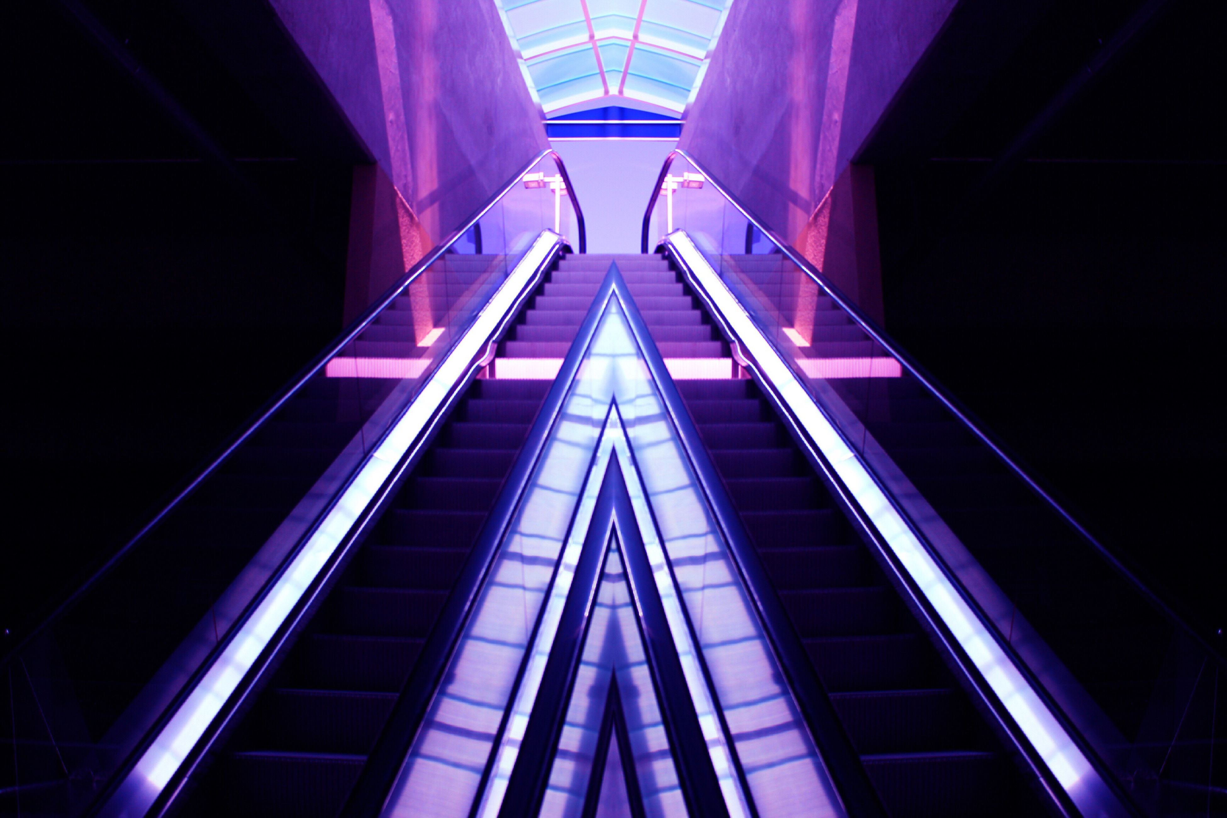 modern, connection, built structure, low angle view, architecture, technology, illuminated, railing, convenience, pink color, the way forward, pink, city life, no people, office building