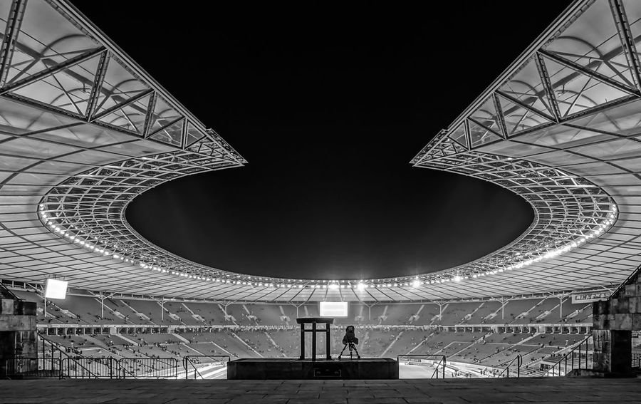 Architecture B&w Berlin Photography Berliner Ansichten Black And White Black Color Built Structure City Life Day Futuristic Indoors  Night Night Photography Nightphotography Olympiastadion Olympiastadion Berlin Olympic Stadium Sparse Sport Event Stage - Performance Space Urban Exploration