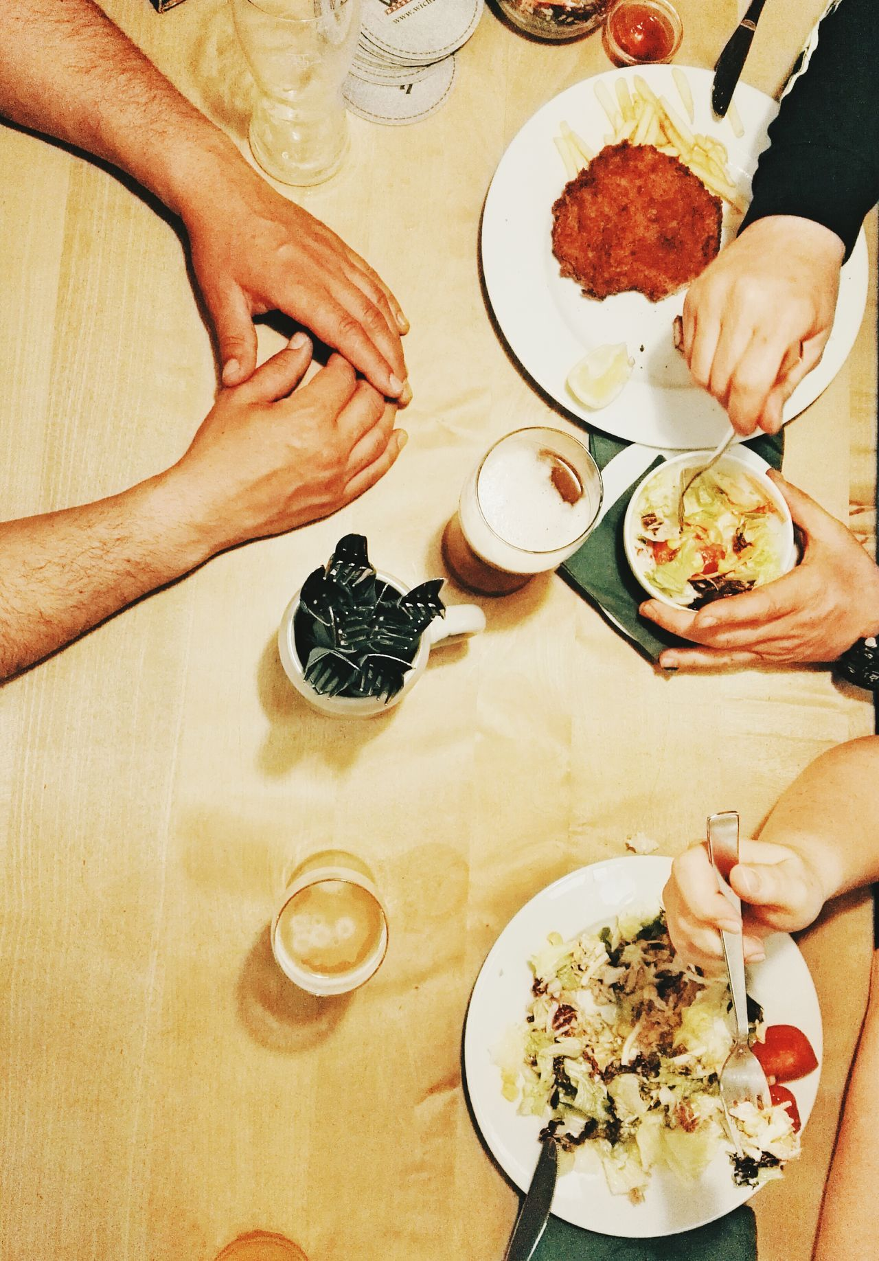 Eating together Table Food And Drink Human Body Part Indoors  Plate Human Hand High Angle View Food Freshness Directly Above Ready-to-eat Dessert People Adults Only Eating Together Eating With Friends Visual Feast