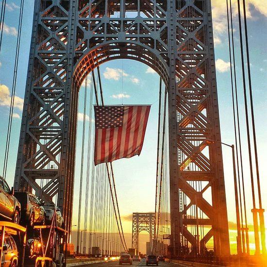 Nycprimeshot Nyclovesnyc Icapture_nyc NYC Manhattan GeorgeWashingtonBridge GWB Goodmorning Sunrise American Flag Bridge Bridgescape Sunrise Porn Bridgeporn