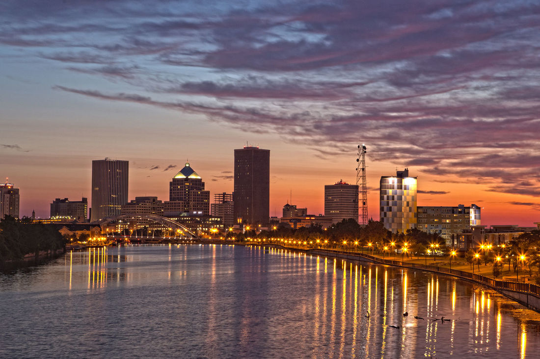 Rochester, New York skyline at dawn Twighlight Sunrise Reflection Genesee River Dawn Skyline Rochester, NY City