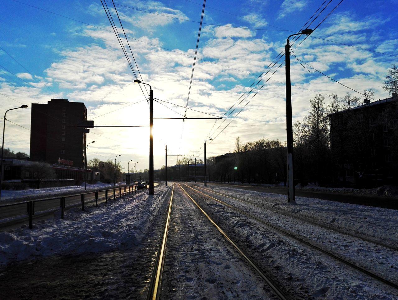 Transportation Railroad Track Rail Transportation Sky The Way Forward Cloud - Sky Day City Weather Enjoying Life Hello World Snow Cold Temperature