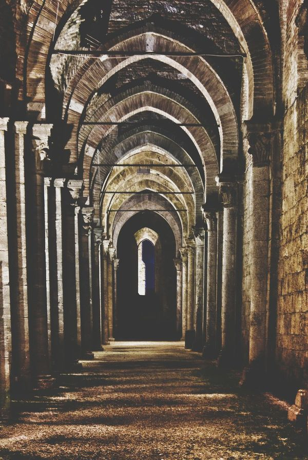 Pattern Pieces Perspective GothicStyle Church Corridor Columns Columns And Pillars Stones Bricks Gothic Architecture Gothic Arches Gothic Window Night Light And Shadow San Galgano Italy