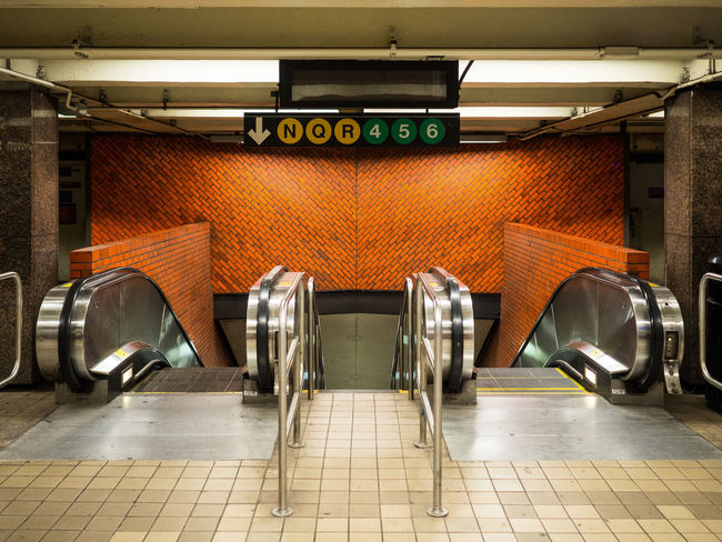 After The Rush Architecture Brick Wall Commuting Elevator Entry New York City Public Transportation Subway Station