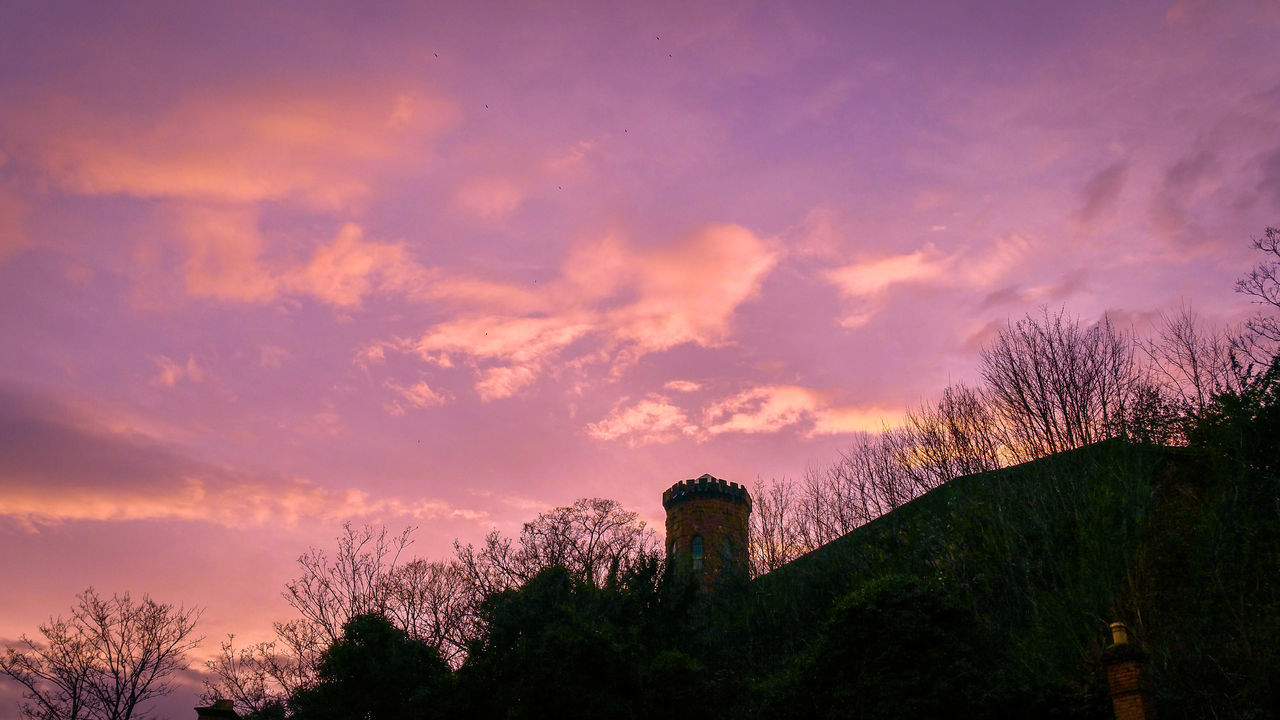 Castle Tower Sunset Sky Nature Beauty In Nature Silhouette Dramatic Sky Tree Outdoors Cloud - Sky No People Night Shrewsbury Mauve  Pink British Britain Clouds Evening Sunsets