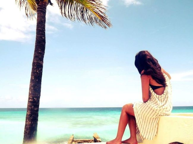 Throwback to my Holiday in Barbados ! Looking out to Sea ☀️ Sun , Girl , Palm Trees , Enjoying Life , Hello World , That's Me
